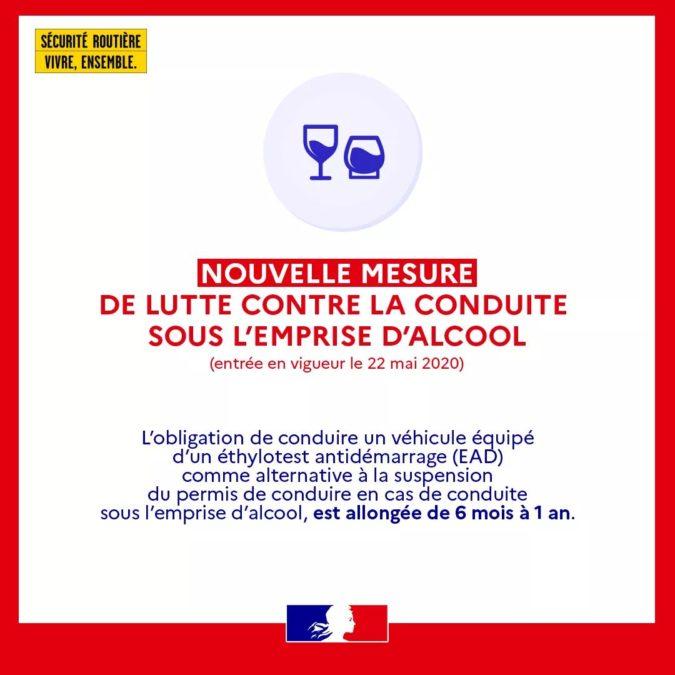 à compter du 22 mai 2020 du changement du coté du permis de conduire